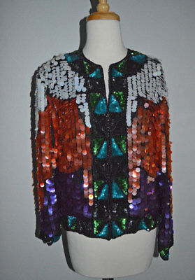 Vintage 70s Large Party Sequin Beaded Silk Jacket - MOVEMENT GALORE S