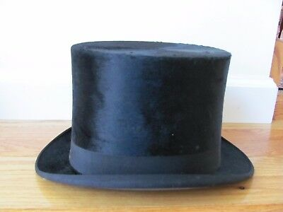 Antique VTG Mens Silk Plush Top Hat Stovepipe ~High Quality Hawes Von Gal Co. NY