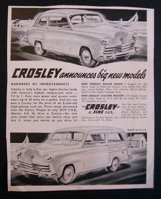 "1949 Crosley Advertisement, ""A Fine Car""; New 1949 Models"