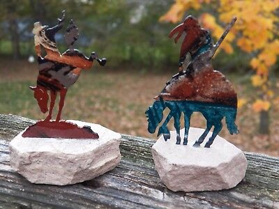 Unusual Lot of (2) American West Metal & Stone Horse Statues Figurines MUST SEE!