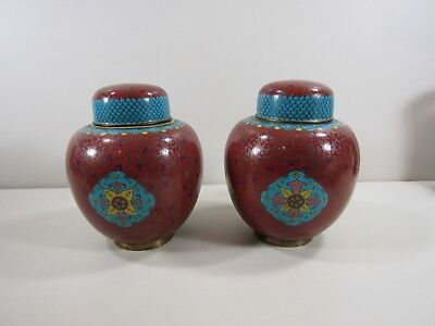 Pair of Cloisonne Ginger Jars  with Lids