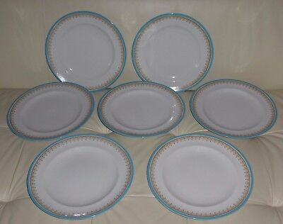 Royal Worcester 7 Antique Circa 1876 Teal Turquoise Dinner Plates