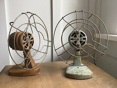 Pair of vintage electric fans - small and very cool - Industrial decor