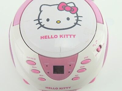 Hello Kitty CD Player Kinder Radio Pink Weiß Girly KT2024A AM FM Boombox KT2