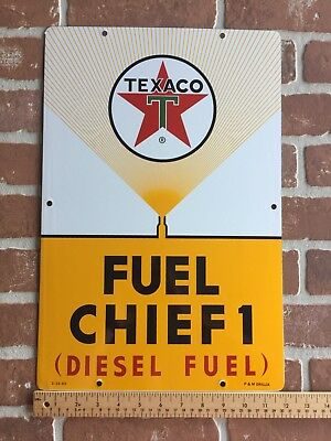 """18""""x12"""" TEXACO FUEL CHEIF # 1 PORCELAIN PUMP PLATE ADVERTISING SIGN. DATE CODED"""