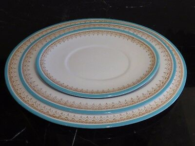 Royal Worcester 3 Antique Circa 1876 Teal Turquoise Oval Serving Platters