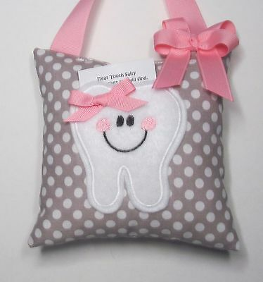 Tooth Fairy Pillow Gray Polka dot with Pink