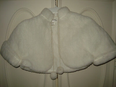 Girls~ Nwot Sz.10-12 ~ White Faux Fur *holiday* Bolero/cape/wrap/coat/jacket