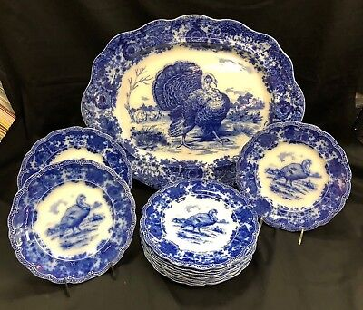 RIDGWAYS ANTIQUE FLOW BLUE TURKEY 12 PLATES & 22in. PLATTER, THANKSGIVING