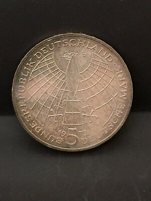 1973 Germany 5 Mark Silver Coins, AU Toned.