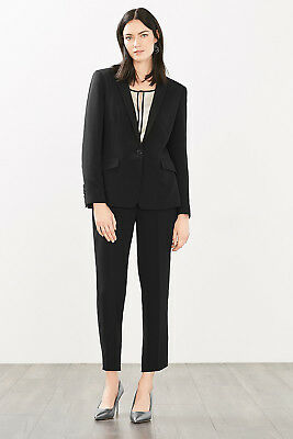NEW Esprit Womens Crêpe blazer with fabric-covered buttons BLACK
