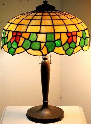 Antique **signed Handel** Bronze Arts & Crafts Slag Glass Table Lamp. C.1910's.