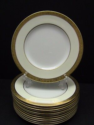Minton WESTMINSTER K154 White/Cream Salad Plates Gold Band / Set of 12