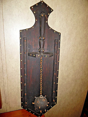 Spanish Gothic Mace Ball On Wood Plaque Vintage