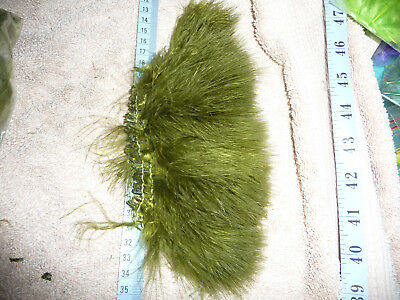 1 x 10cm STRIP OF OLIVE STRUNG MARABOU FLY TYING craft feathers #22