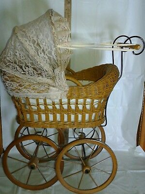 Victorian Wicker/Rattan Childs Baby Doll Carriage Buggy Toy Baby Buggy