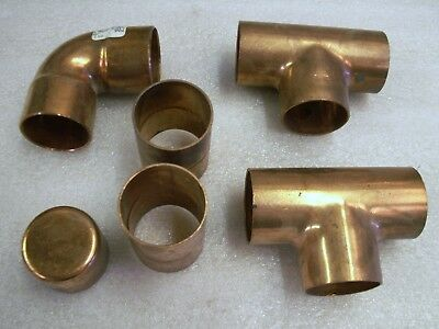"Copper Fittings Mixed Lot of 6 - 1 1/2"" Tee Elbow Cap Sweat On Solder   (CU21)"