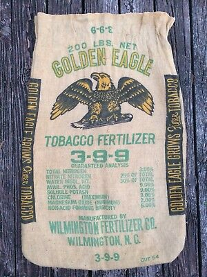 Vintage GOLDEN EAGLE Tobacco FARM Fertilizer RARE BURLAP Sack BAG ART