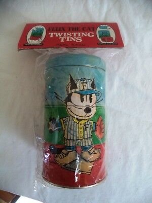 Felix The Cat Twisting Tins Tin Tower Container  Schylling  1995 Sealed NIP