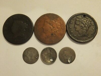 Large Cents & Silver Three Cent Culls (E35)