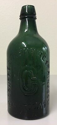 "Antique CONGRESS WATER Emerald Green Glass Water Bottle Saratoga, N.Y. - 7.5"" H"