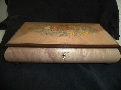 Vintage San Francisco Music Box Lacquer Inlaid Floral- Italy- Swiss Reuge  No.42