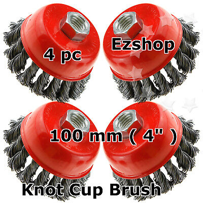 """4"""" Twist Cup Wire Brush Twisted Wire rust paint remover lot of 4pcs"""