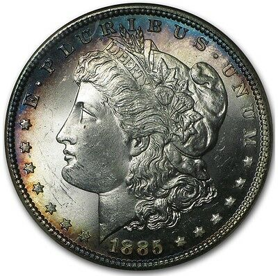 1885 Morgan Silver Dollar NGC MS65 Beautiful Blue Rim Toning in Old NGC Fatty !!