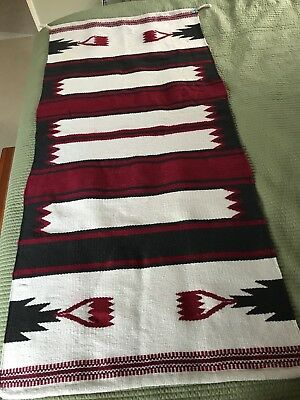 Antique Southwestern Native American Navajo Saddle Blanket rug vintage 29X63