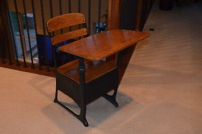 Antique Vintage Children's Kid's Small School Desk / Wood and Metal Chair