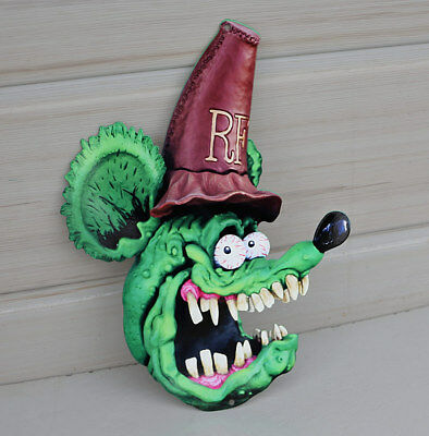 "14"" Green RAT FINK WITH HILLBILLY HAT   Diecut Metal Sign    Modern Retro"