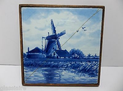 Vintage ROYAL DELFT DE PORCELEYNE FLES Tile WINDMILL SCENE Repaired