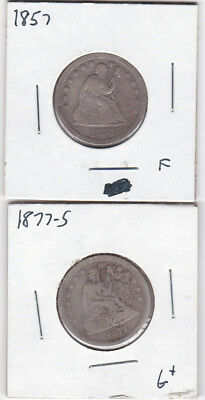 1857 Liberty Seated Quarter and 1877-S Seated quarter