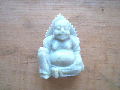 ESTATE SALE FIND:Handcarved Chinese Soapstone Laughing Seated Buddha  2 3/8 ""