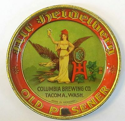 rare c.1910 COLUMBIA BREWING CO. Tacoma Washington tin litho tip tray ashtray