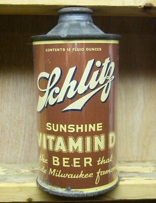 ASCHLITZ Sunshine Vitamin D low profile Cone Top Beer Can.Nice1935. Milwaukee Wi