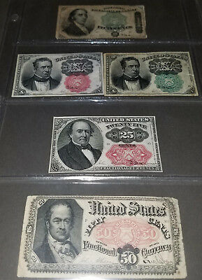 U.S. Fractional Currency lot of 5 notes postage lot #5