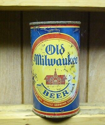 OLD MILWAUKEE Flat Top Beer Can. 1930's Blue Schoolhouse. Schlitz Brewing Co. Wi