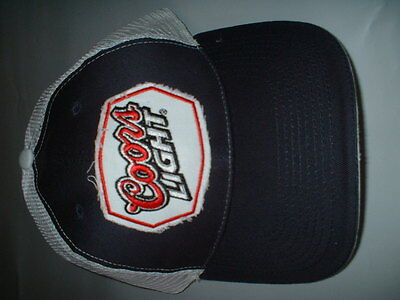 Coors Light black and white trucker hat all cotton with hook and loop back NEW!