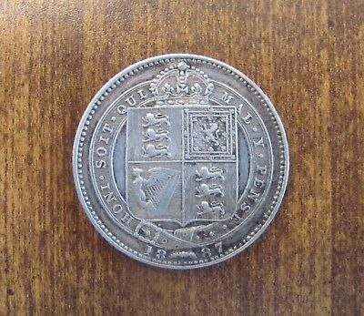 1887 -  Great Britain 1 Schilling - Great Looking AU - Vintage Silver