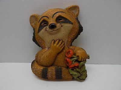 Vintage 1977 Homco Racoon Wall Hanging/Plaque-Excellent Condition!