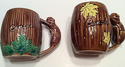 Canada Coffee Mug Cups Maple Leaf Beaver Handle Vintage Mid Centurty Ceramic