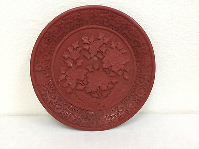 Vintage Chinese Cinnabar Lacquer Plate Chrysanthemum