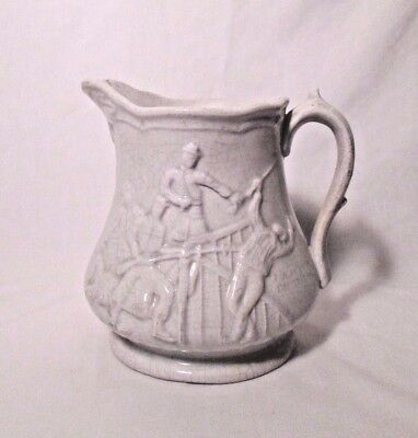 Antique Vintage Ironstone Pitcher Unmarked Military Relief Pictures 8""