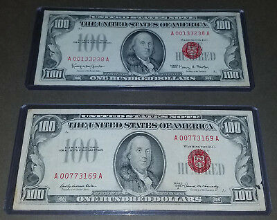 1966 AND 1966a $100 Legal Tender Note RED SEAL United States Note (both notes)
