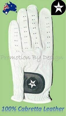 Mens Golf Gloves Premium Quality 100% Cabretta Leather Front and Back - 5 Sizes