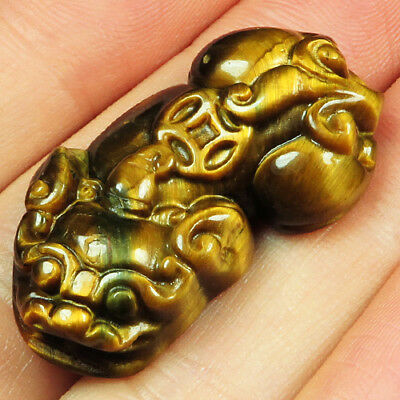 32.6CT 100% Natural African Tigereye Carving Lion Collectible UCHY60