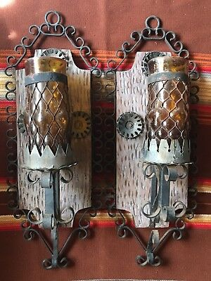 Vintage Spanish Revival Mexican Black Iron Glass Cage Candle Sconces Gothic 2Pc