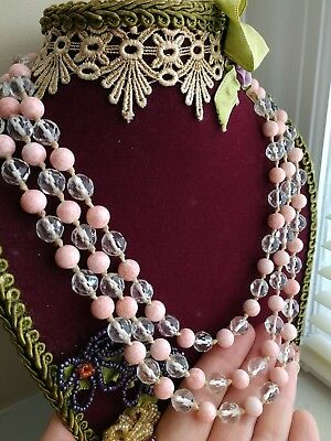 """Old Antique Vtg 60"""" Long Hand-Knotted Crystal & Pink Coral Glass Bead Necklace"""