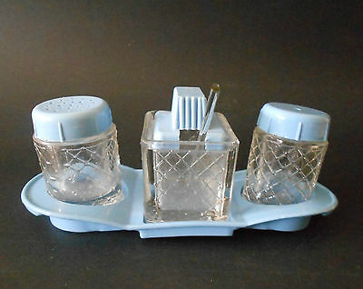 Vintage Depression Glass And Blue Plastic Cruet Set In Caddy With Spoon C1930S